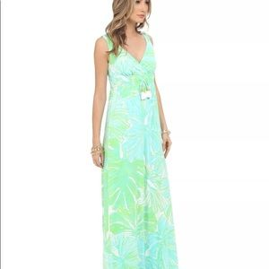 Maxi Lilly Pulitzer isla printed dress sheen frond